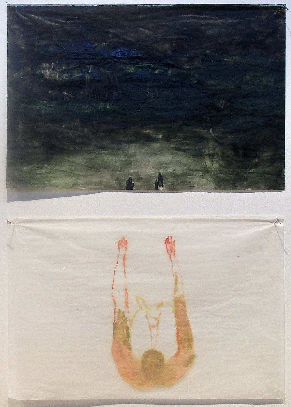 Top:  Sensation Deprivation , 2014  Oil on gampi silk paper 30.5 x 51 cm  Bottom:  Disconnect , 2014 Oil on gampi silk paper 30.5 x 51 cm