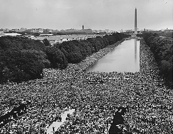 De menigte bij de beroemde 'I have a dream'-speech van Martin Luther King  Bron: Wikipedia