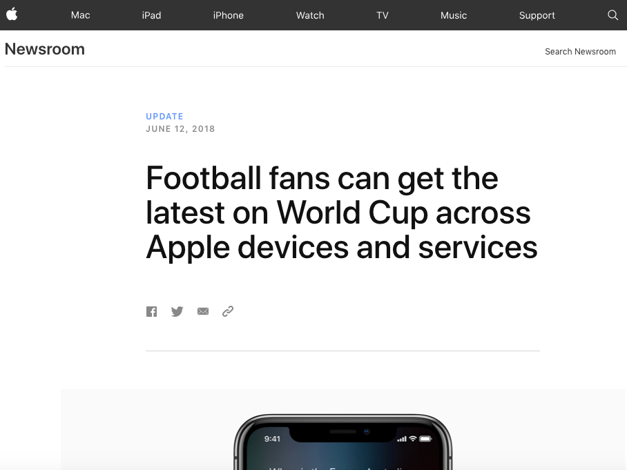 Apple Newsroom: Football Fans Can Get the Latest on World