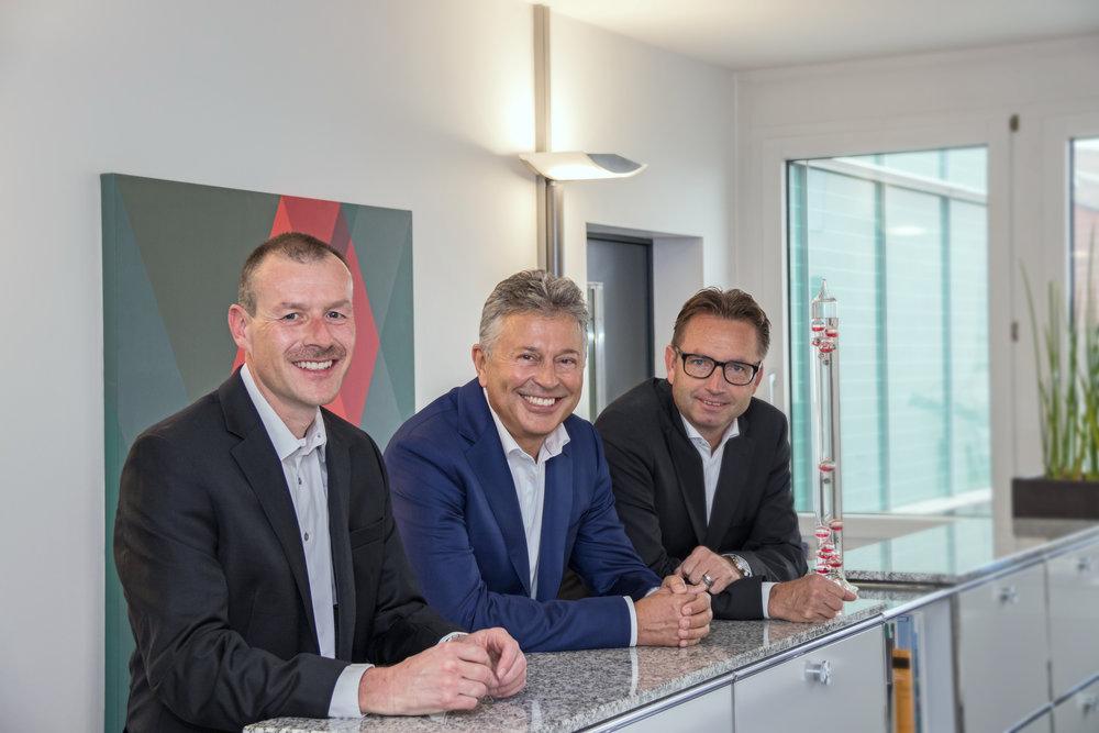 Die Geschäftsleitung: Reto Zibung, Anton Wismer und Jürg Ingold