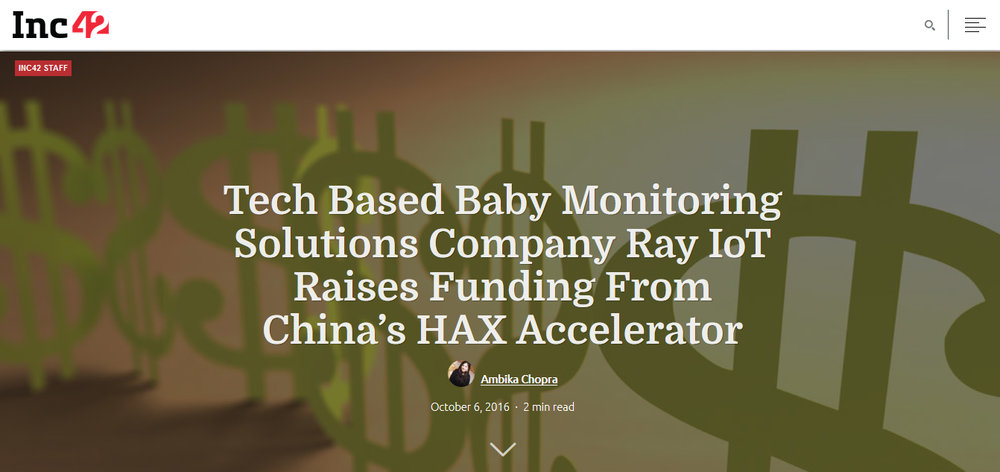 Tech Based Baby Monitoring Solutions Company Ray IoT Raises Funding From China's HAX Accelerator
