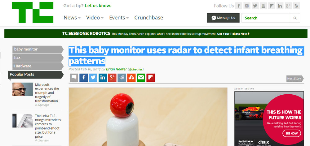 This baby monitor uses radar to detect infant breathing patterns