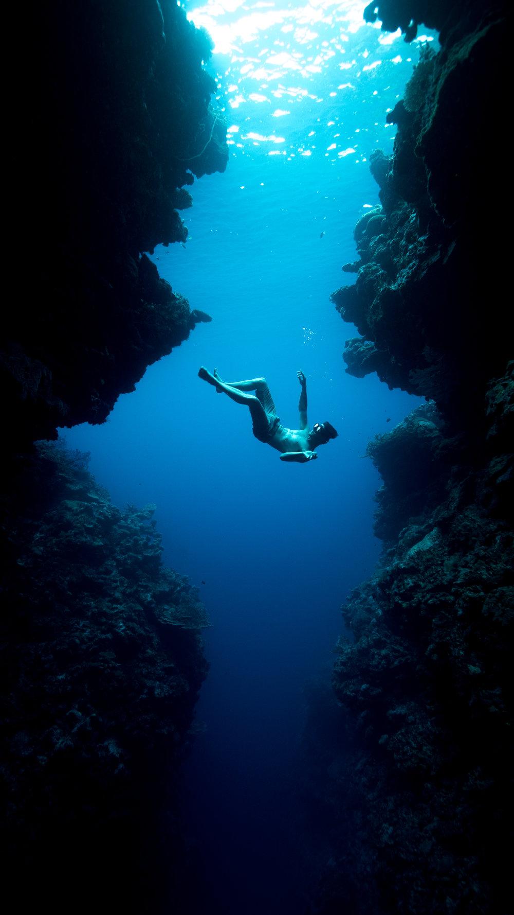 Lucas Handley falling through the cracks, 2014. Shot in the Solomon Islands by Julia Wheeler