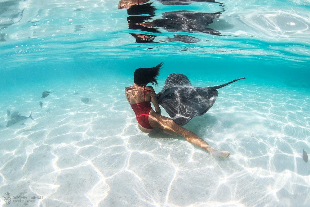 julia wheeler, christian coulombe, tahiti, sting rays, freediver, underwater photography