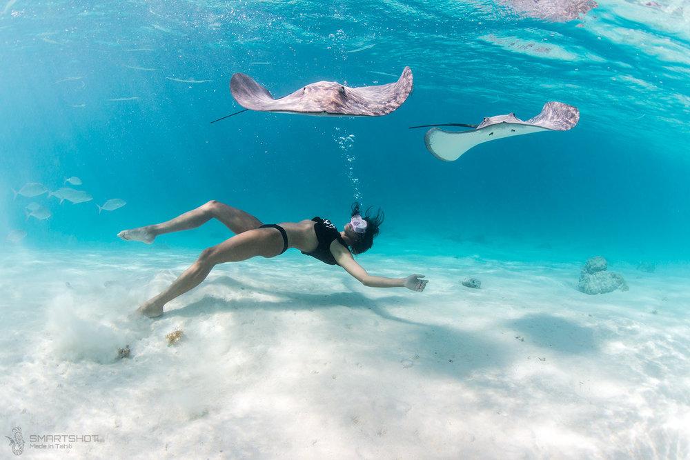 julia wheeler, freediver, christian coulombe, tahiti, sting rays