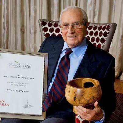 In August 2012, Giulio Bertrand was honoured by the SA Olive Association with a Life Time Achiever trophy for his contribution to the local olive oil industry.
