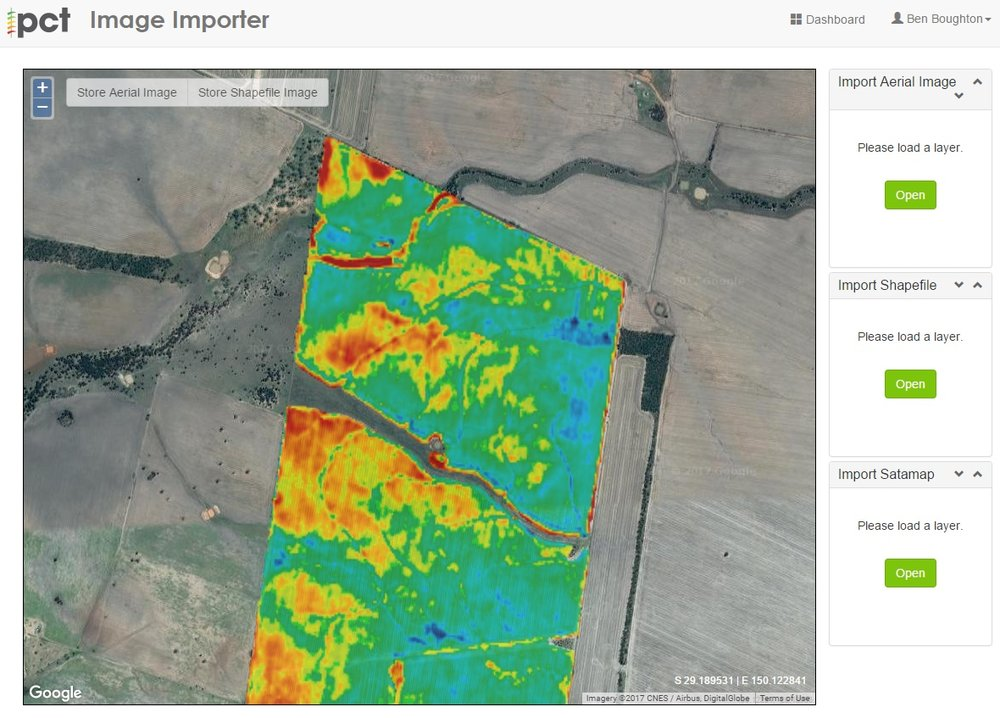 Satamap data stretched across individual paddocks in PCT's AgCloud