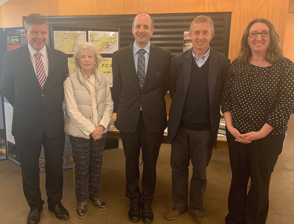 (L-R) David Kemp, Coastal Manager, Environment Agency, Professor Jane Maxim, Trustee and Funding Committee Chair, Giles Bloomfield, Eastern Area Manager of East Suffolk Internal Drainage Board, Sir Edward Greenwell, Chair Alde & Ore Estuary Partnership, Karen Thomas, Partnership and Strategy Manager, ESIDB.