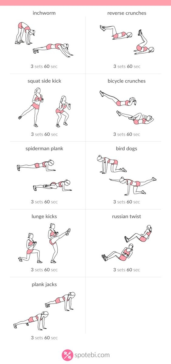 This workout was found at  spotebi.com  which has a bunch of at-home workouts for women.