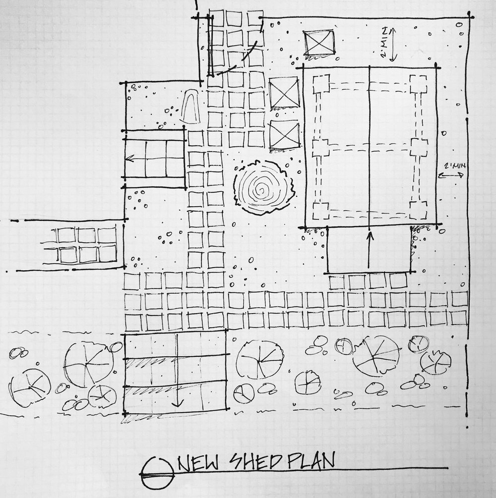 A rough sketch of the plan for our new shed area.