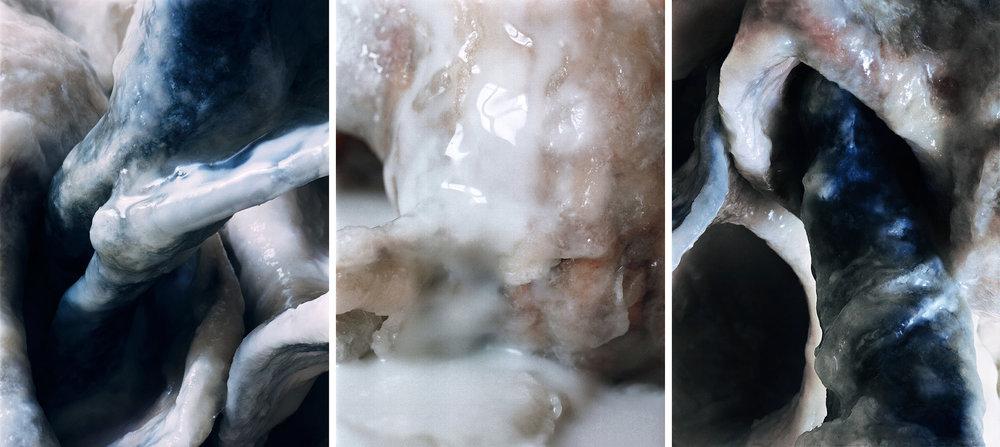 White Fluids  Triptich N°8, 2006/2015  T irages gélatino argentiques, 3 panneaux 144 x 104 cm chacun | Gelatin silver prints, 3 panels 56,69 x 40,94 inches each  4/4