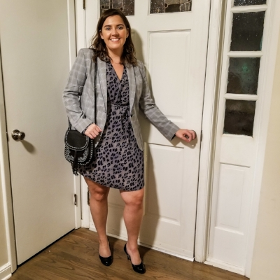 Animal prints and plaid were very on trend this fall (and still are), so I combined both prints but kept it classic with a blazer.