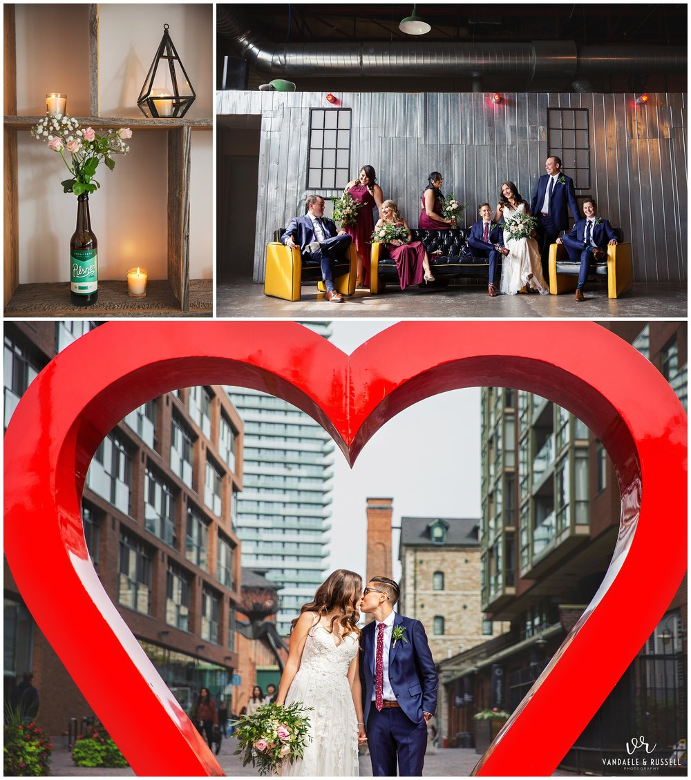 After family photos, we strolled around the corner to the Historic Distillery District for photos of their wedding party, and Kathryn & Dasa! It was surprisingly NOT as busy as I'm used to, which was a super pleasant surprise (the day seriously just kept getting BETTER AND BETTER).