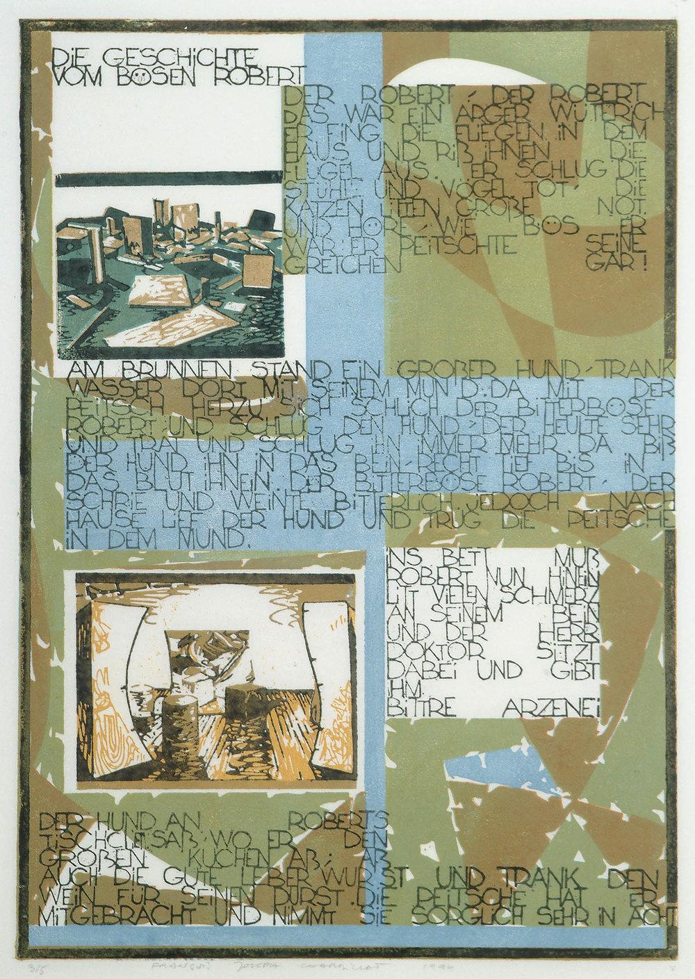 Die Geschichte vom Bösen Robert | 1994 | farbiger Linolschnitt auf Papier | 50 x 35 cm
