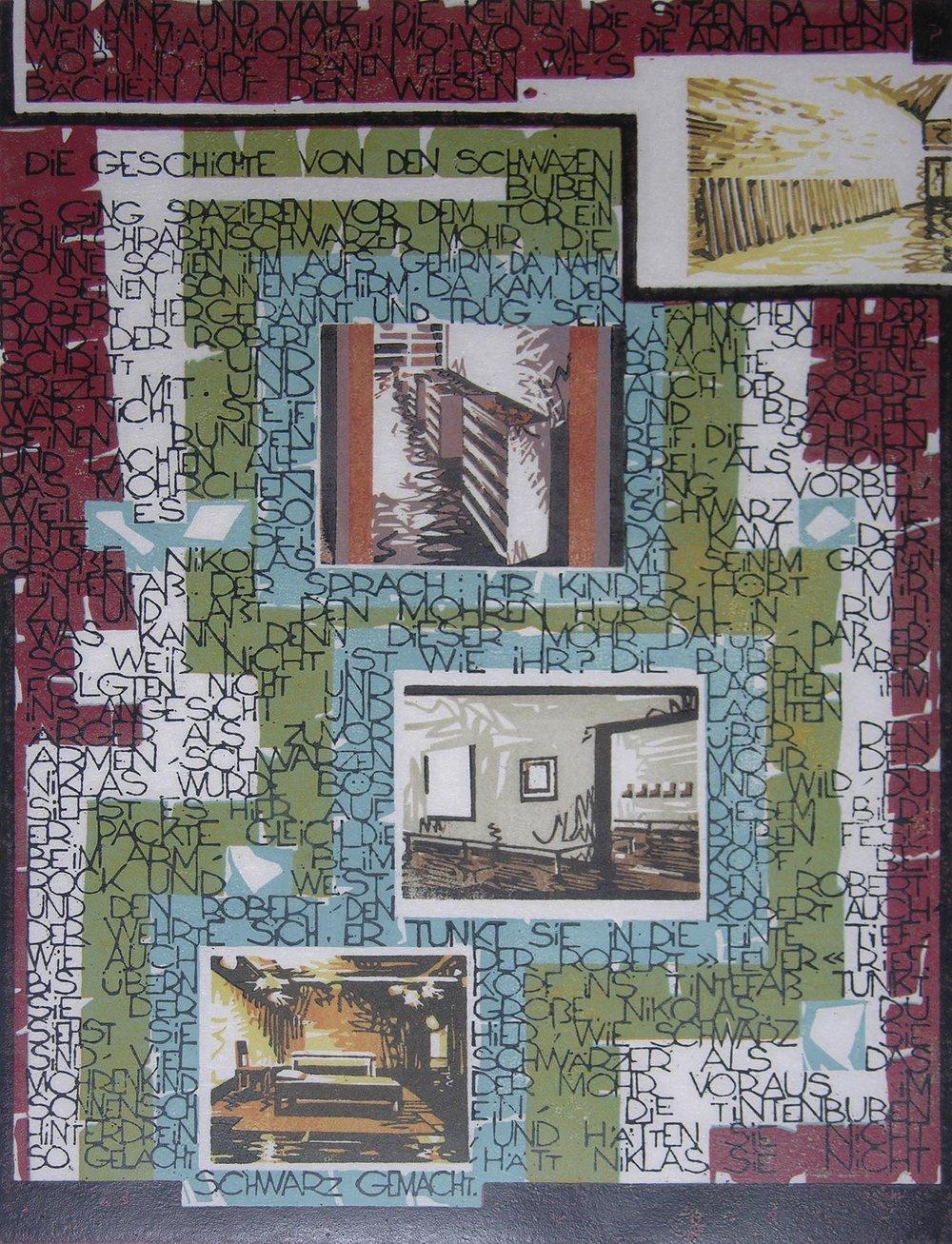 Die Geschichte von den schwarzen Buben | 1994 | farbiger Linolschnitt auf Papier | 50 x 35 cm