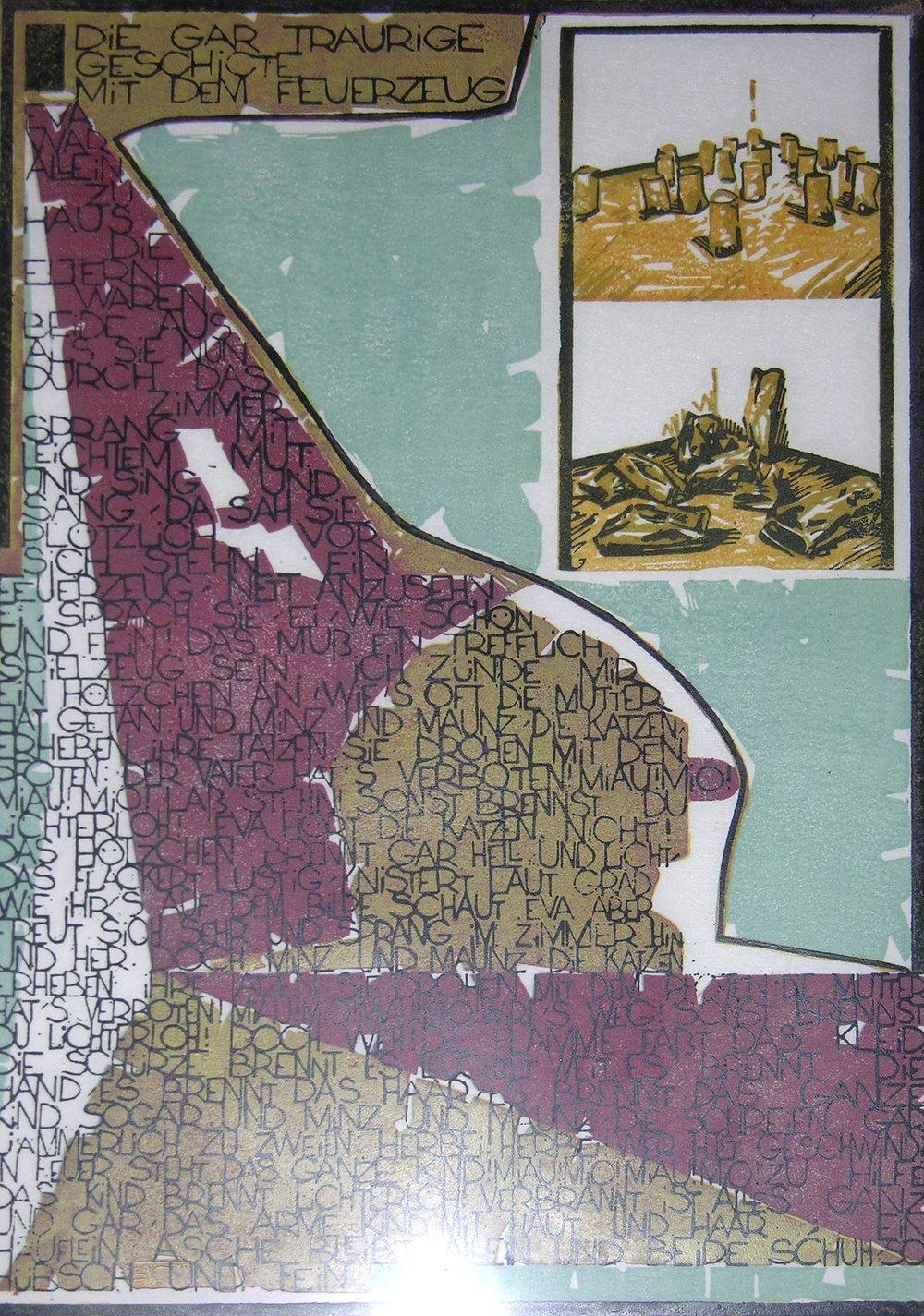 Die gar traurige Geschichte mit dem Feuerzeug | 1994 | farbiger Linolschnitt auf Papier | 50 x 35 cm