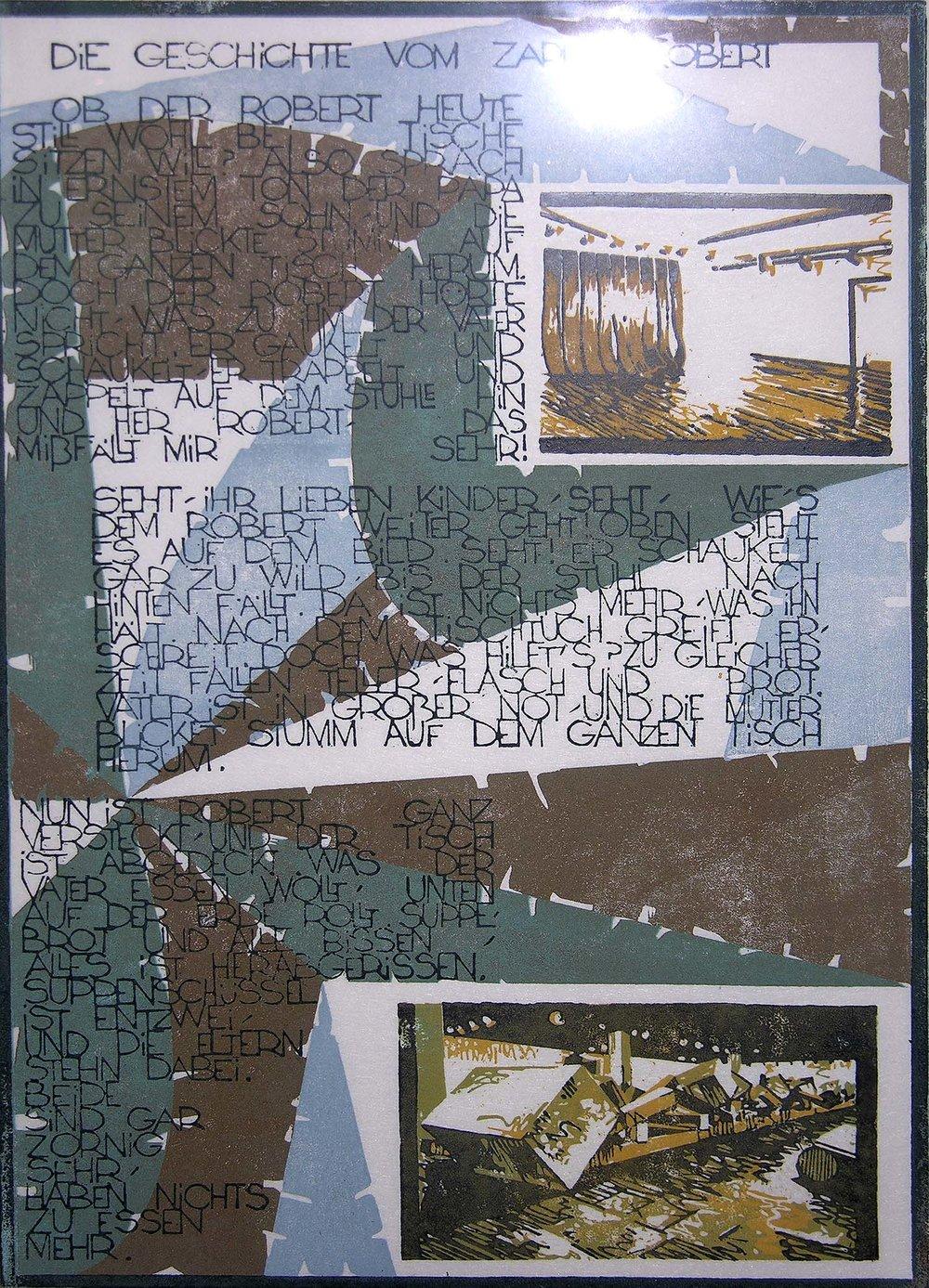 Die Geschichte vom Zappel-Robert | 1994 | farbiger Linolschnitt auf Papier | 50 x 35 cm