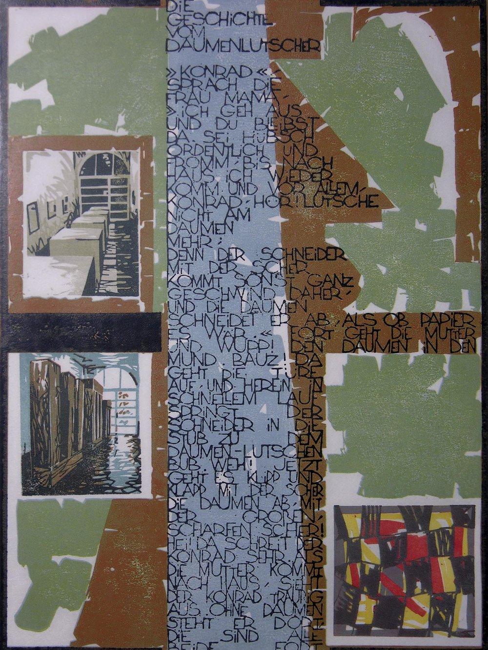 Die Geschichte vom Daumenlutscher | 1994 | farbiger Linolschnitt auf Papier | 50 x 35 cm