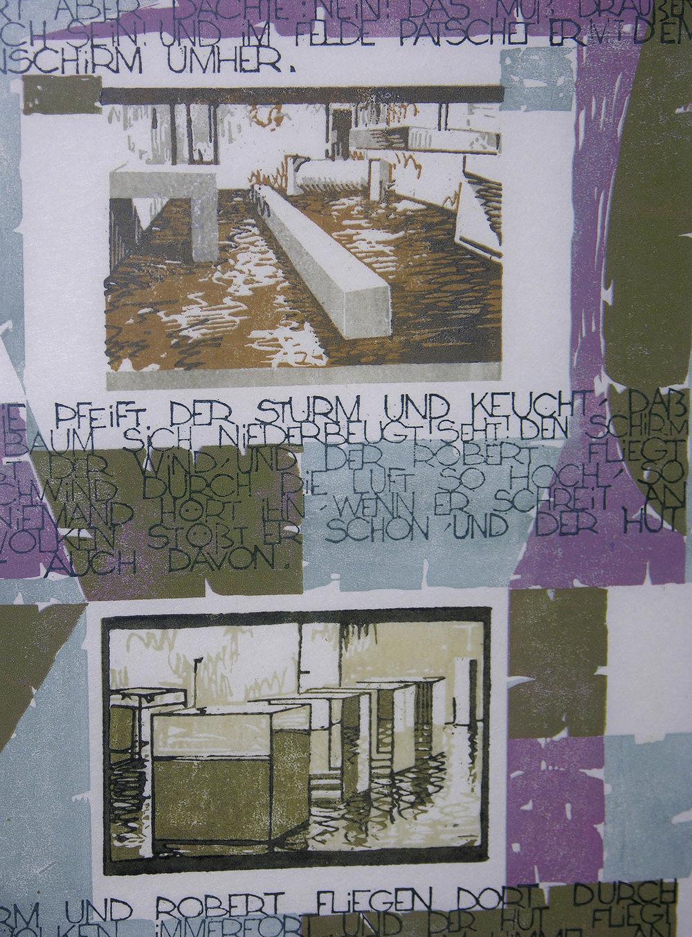 Die Geschichte vom fliegenden Robert | 1994 | farbiger Linolschnitt auf Papier | 50 x 35 cm