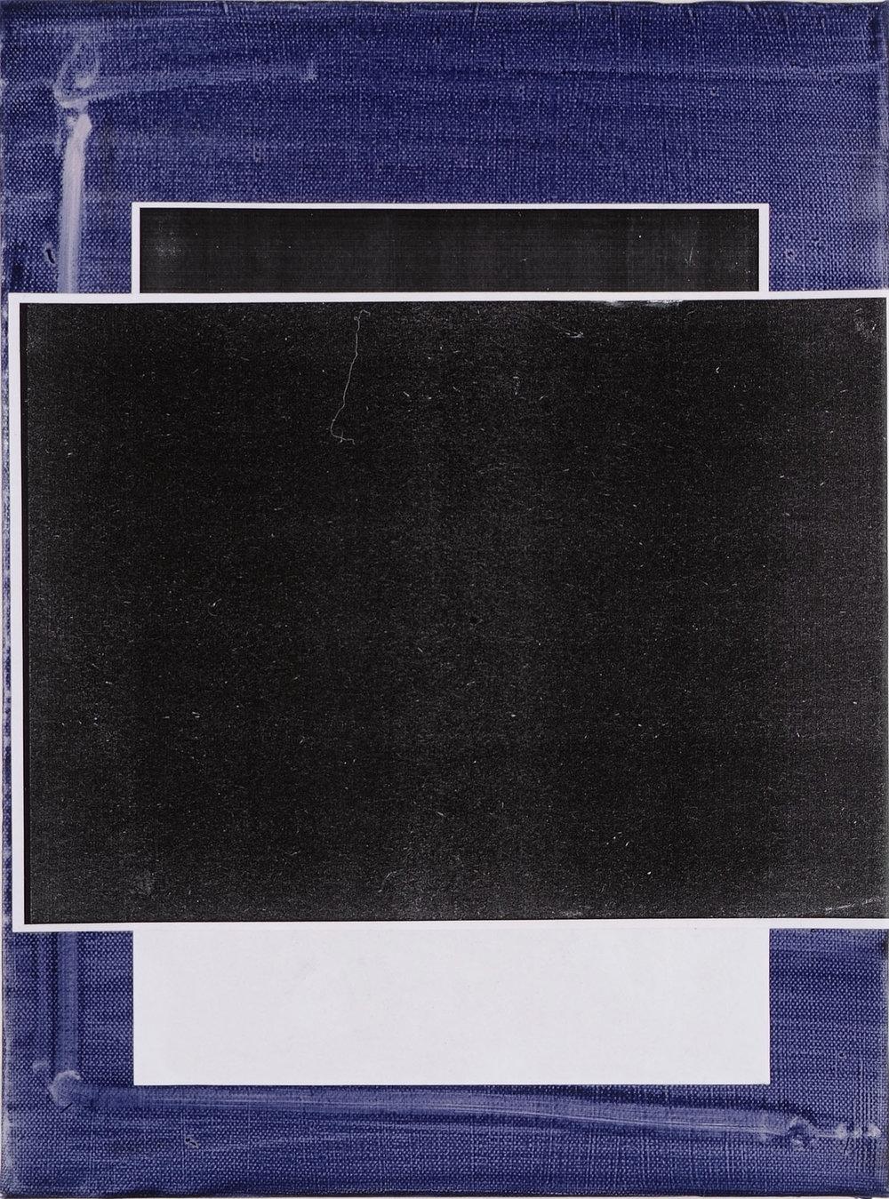 Untitled (Blau 2) | 2009 | Öl und Fotokopie auf Leinwand | 40 x 30 cm