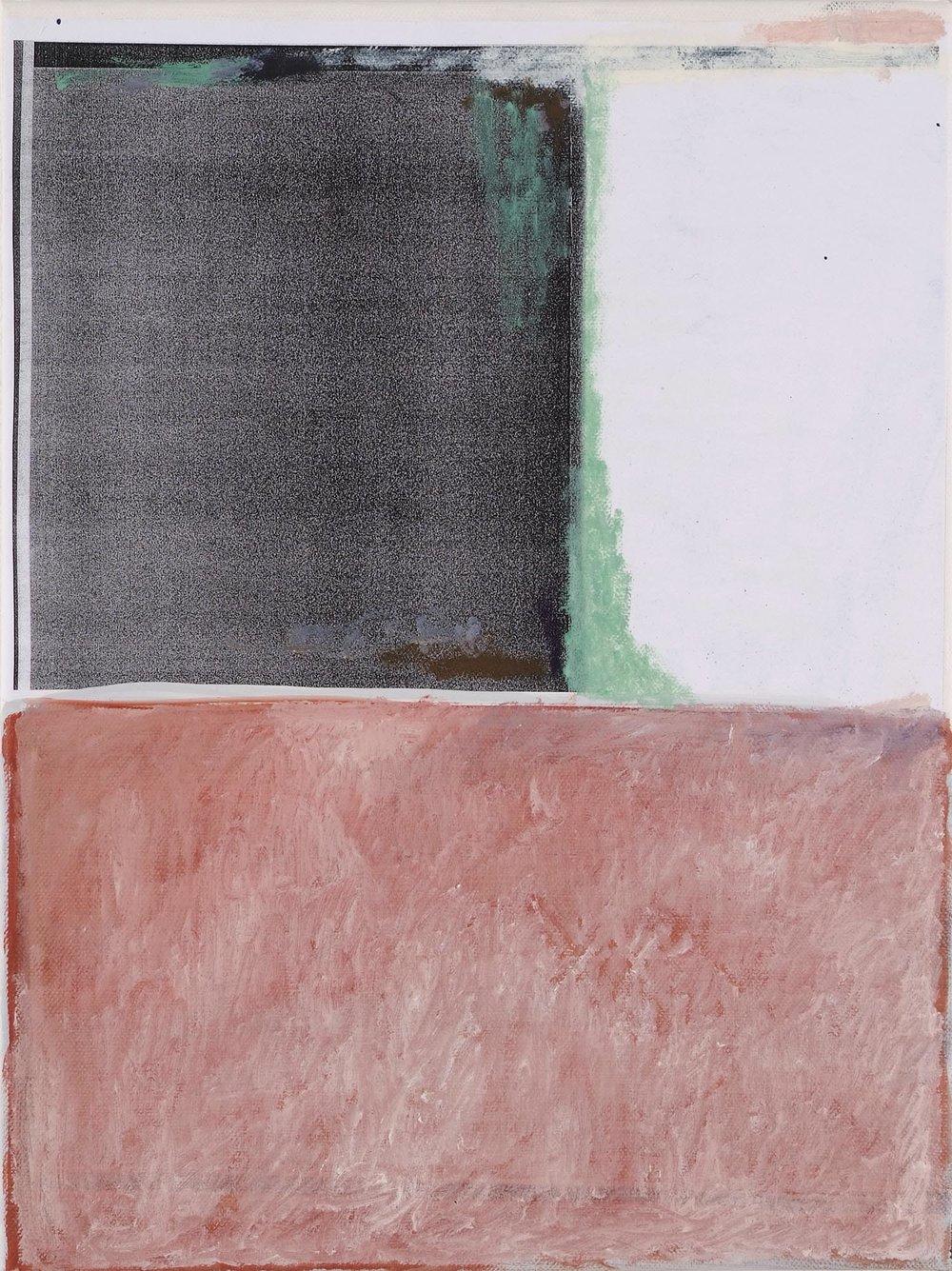 Untitled | 2009 | Öl und Fotokopie auf Leinwand | 40 x 30 cm