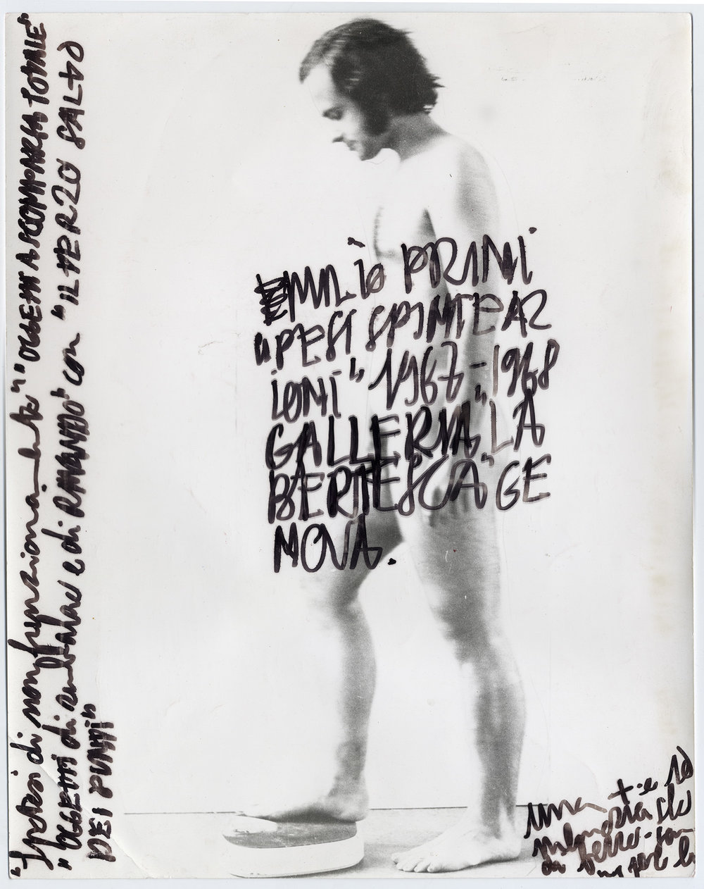 Emilio Prini a pesi Galleria la Bertesca | 1967/68 | Fotografie, Filzmarker | 30 x 23,5cm