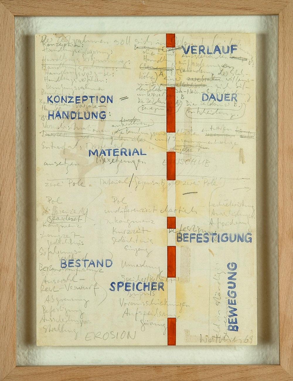 o.T. | 1969 | Bleistift und Wasserfarben auf Papier | 29,5 x 21 cm