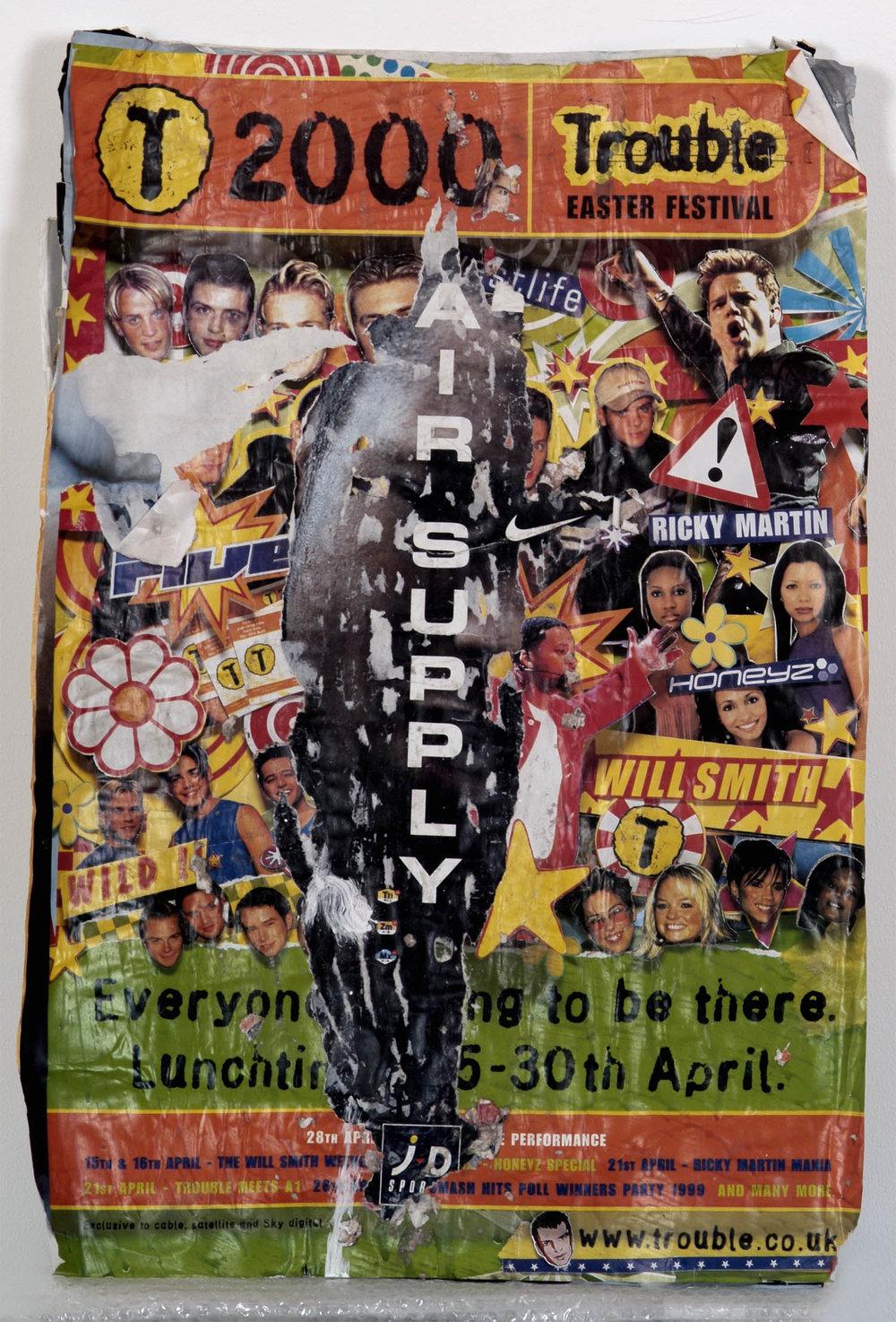 o.T. (air supply I) | 1999 | Collage mit Zeitschriftenpapier auf Pappe | 76 x 50 cm
