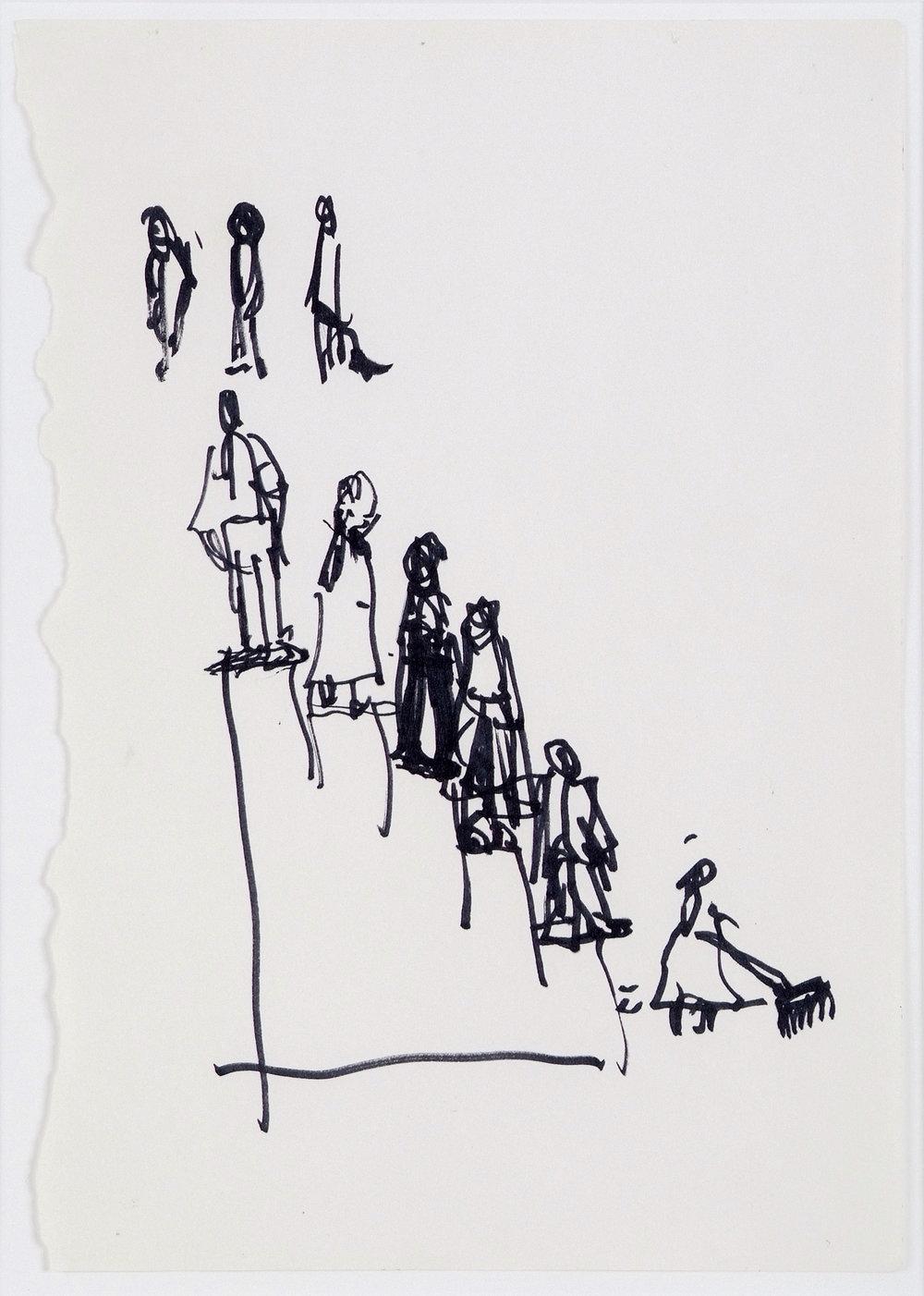 o. T. (Soziale Treppe) | 1999 | Filzstift auf Papier | 29,5 x 20,5 cm