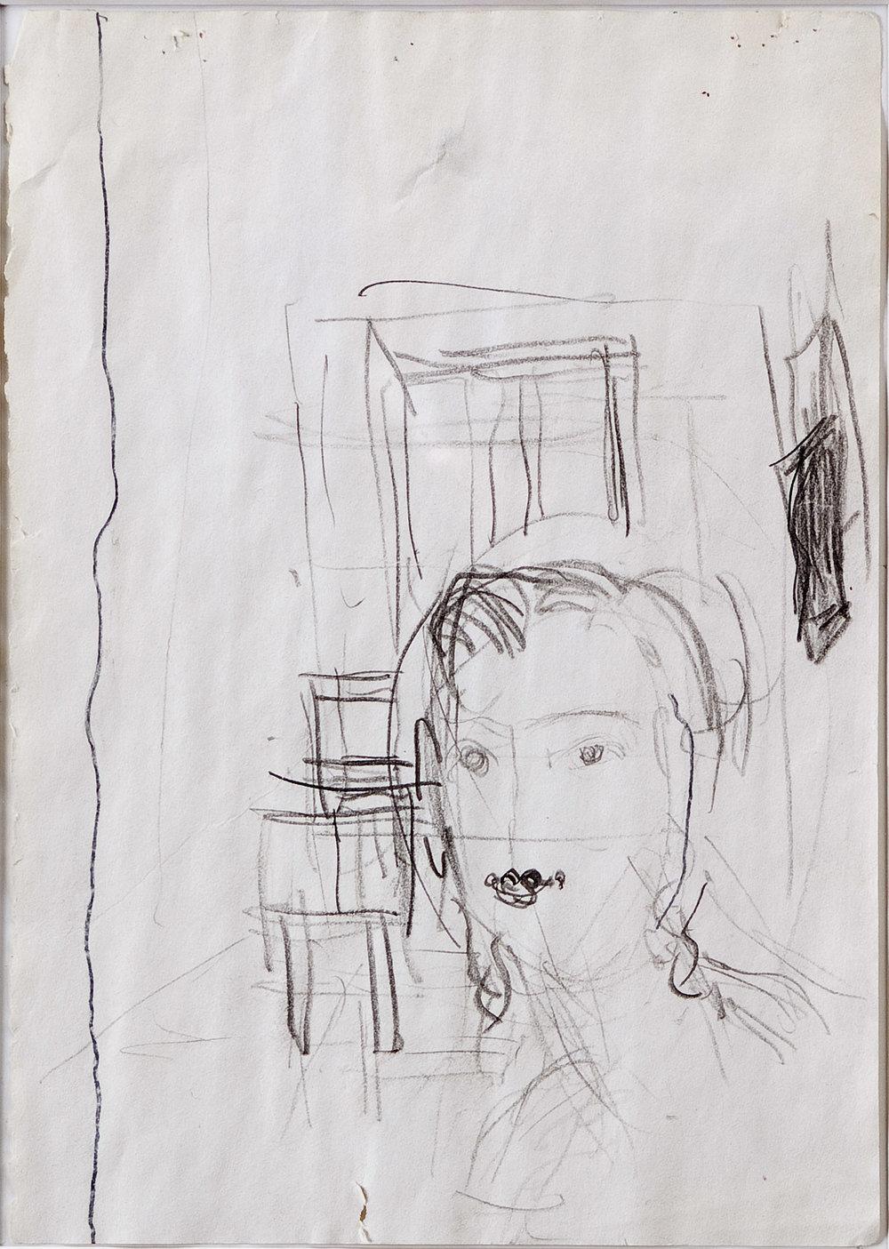 o. T. (Clara Schumann III) | 1999-2000 | Bleistift und Filzstift auf Papier | 29 x 21 cm
