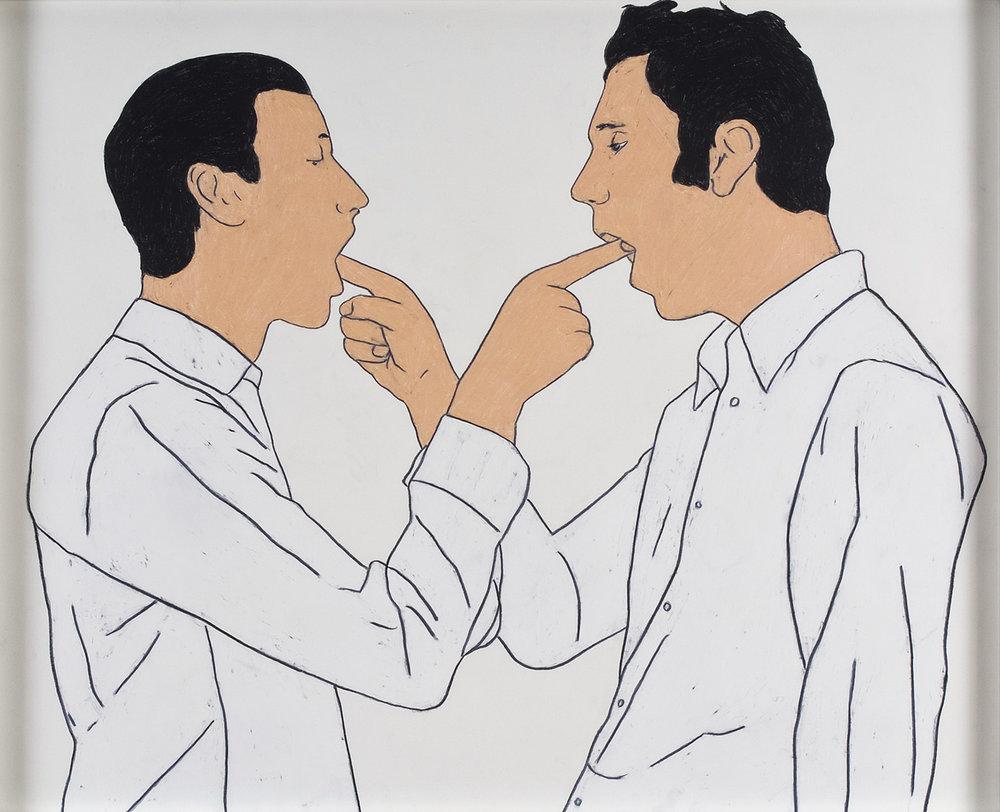 Bunk/Richter (I) | Wachskreide auf Papier | 2008 | 63 x 78 cm