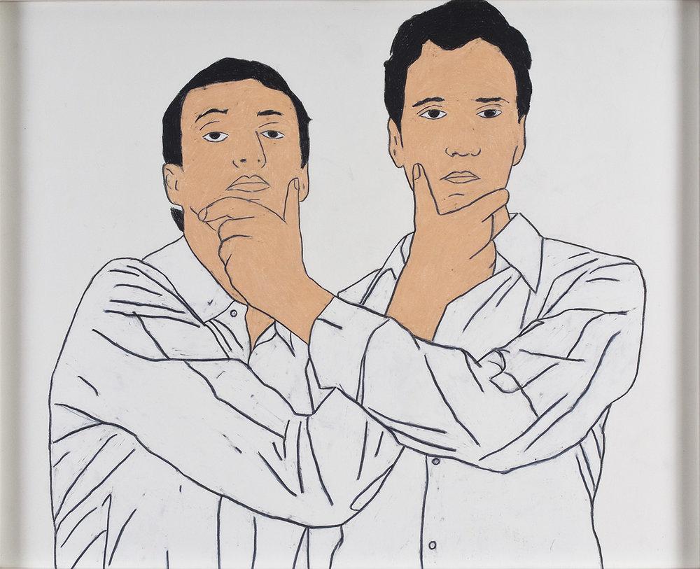 Bunk/Richter (II) | Wachskreide auf Papier | 2008 | 63 x 78 cm