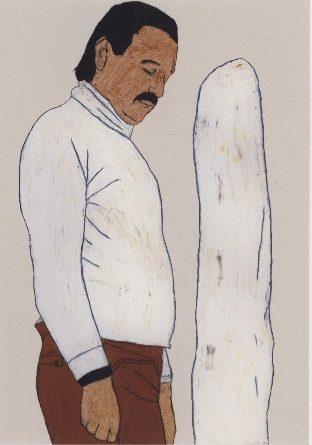 (O. Kobalek) F. West | Wachskreide auf Karton | 2008 | 84 x 59 cm