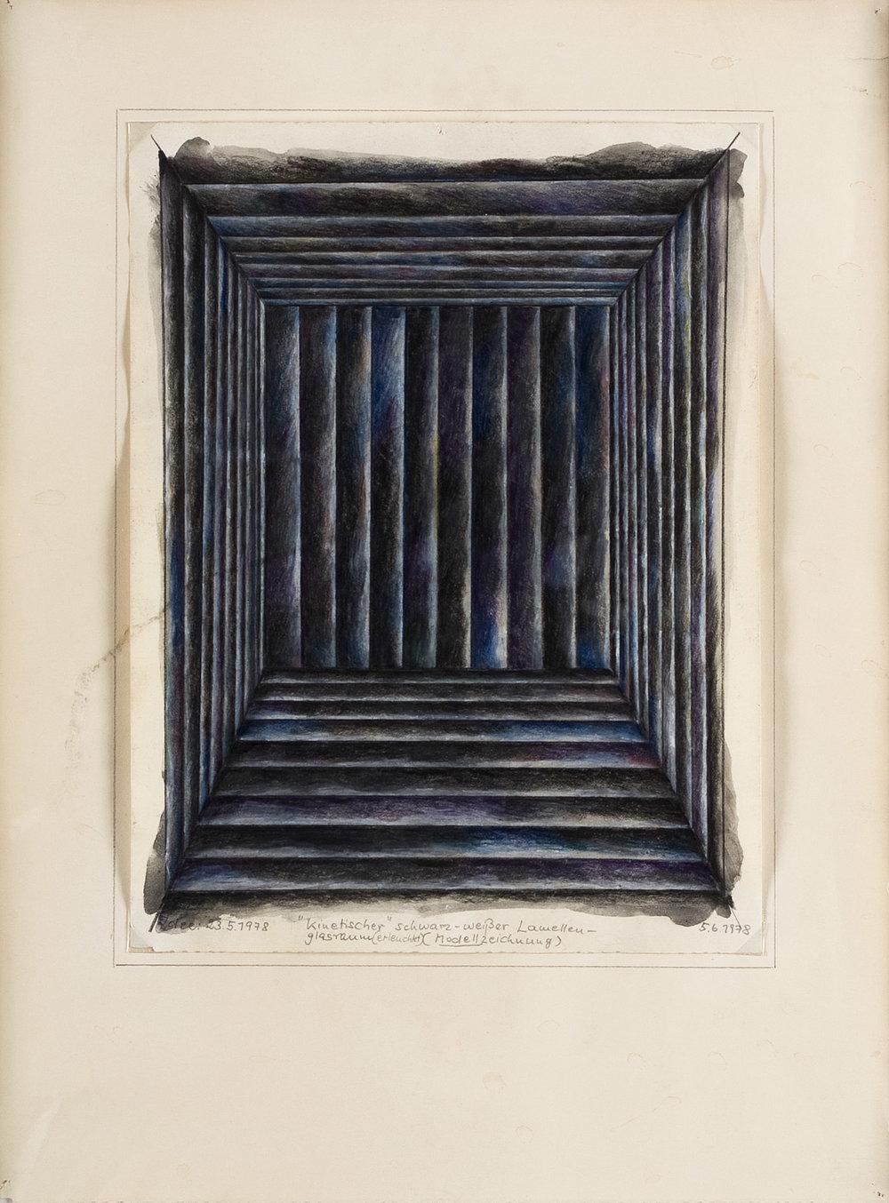 Kinetischer schwarz-weißer Lamellen-Glasraum, Modellzeichnung | 1978 | Wasserfarbe und Bleibstift auf Papier | 40 x 29,5 cm