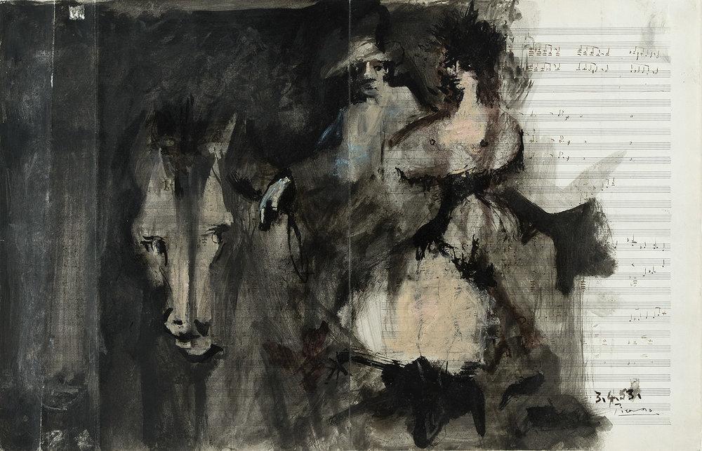 Guy Bermaise | 1953 | Mischtechnik auf Notenblatt | 53,7 x 34,5 cm