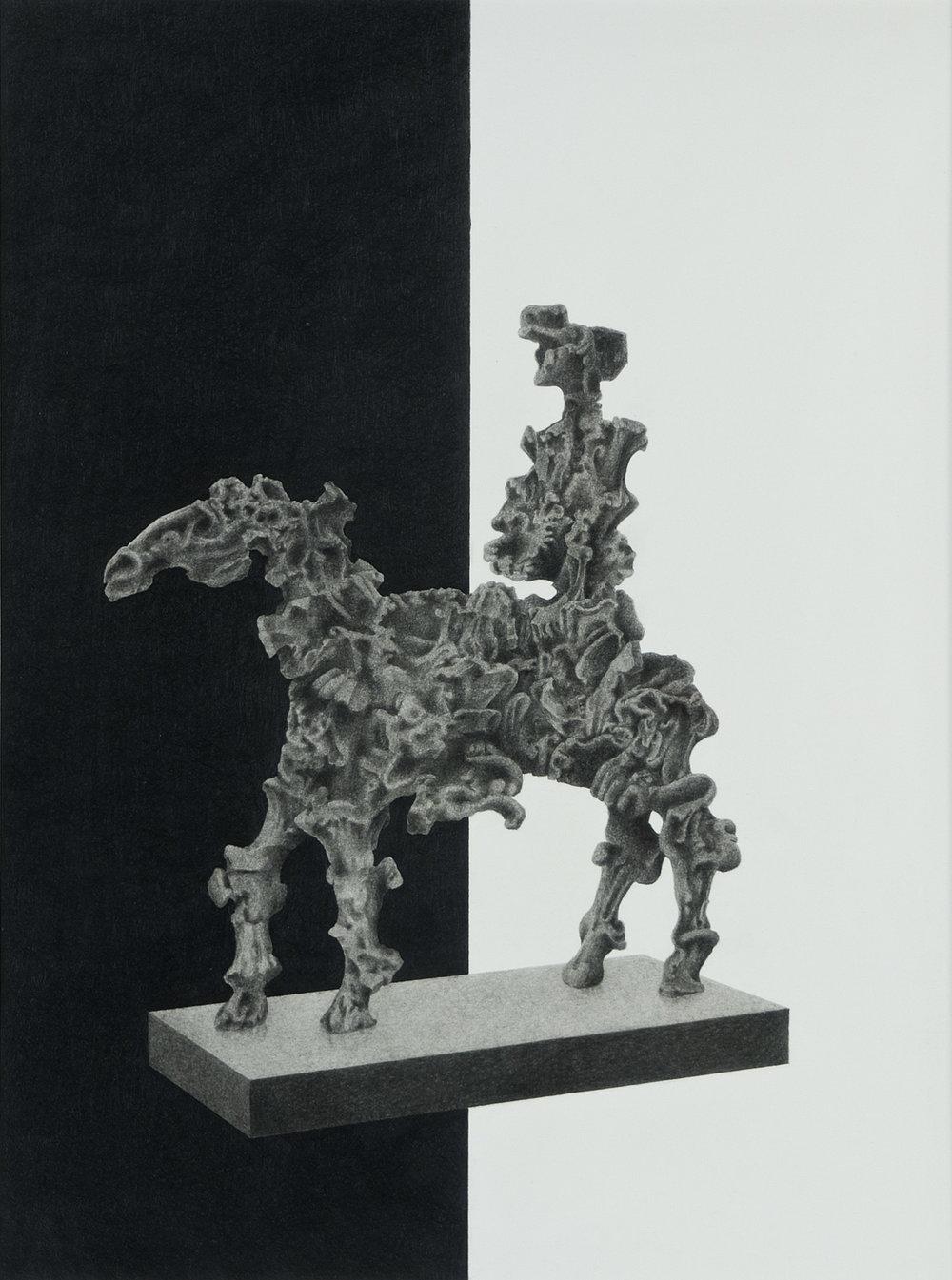 Imaginärer Reiter | 2010 | Bleistift auf Papier | 44 x 33 cm