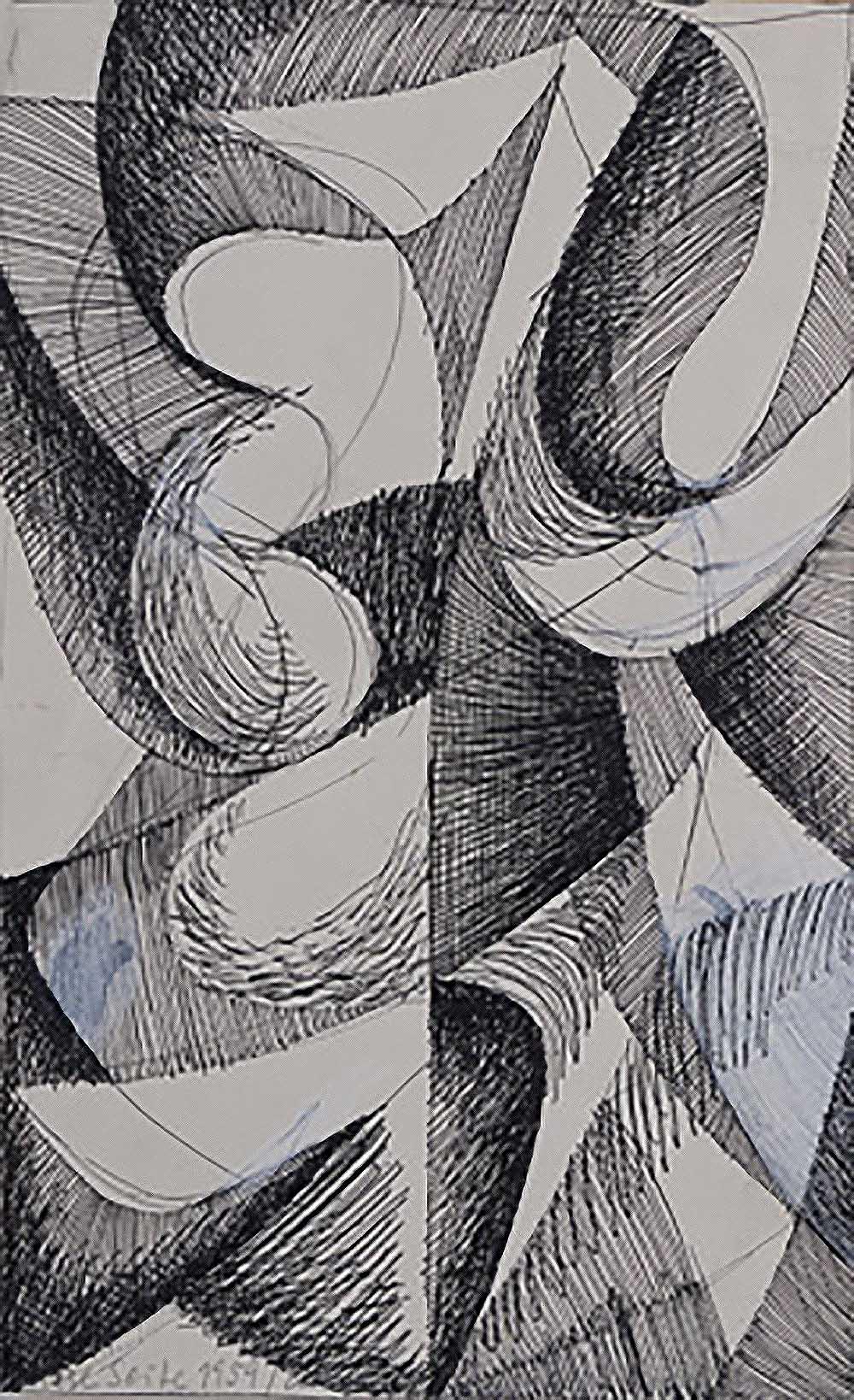 o.T. | 1959 | Tinte und Wasserfarben auf Papier | 38 x 22,5 cm