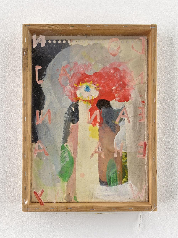 o. T. (Donna Jeanne Haraway) | 2014 |Papier auf Leinwand, Lack, Acryl, Holz, Plexiglas |47 x 33,5 cm