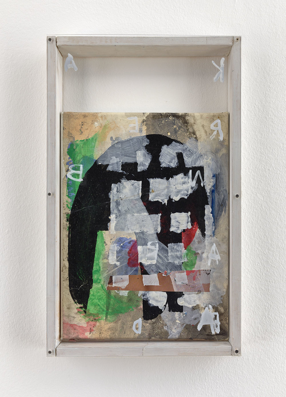 o.T. (Karen Barad) | 2015 |Papier auf Leinwand, Lack, Acryl, Holz, Plexiglas |46 x 33,5 cm
