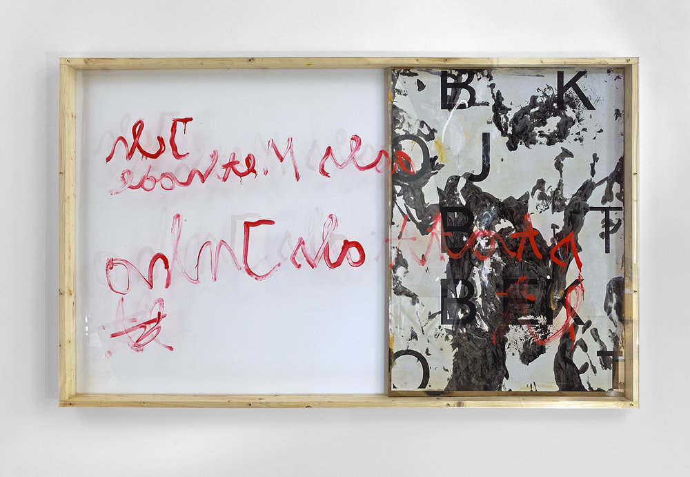 Nichts geht m. |2015 | Papier auf Leinwand, Lack, Acryl, Holz, Plexiglas |127 x 211 cm