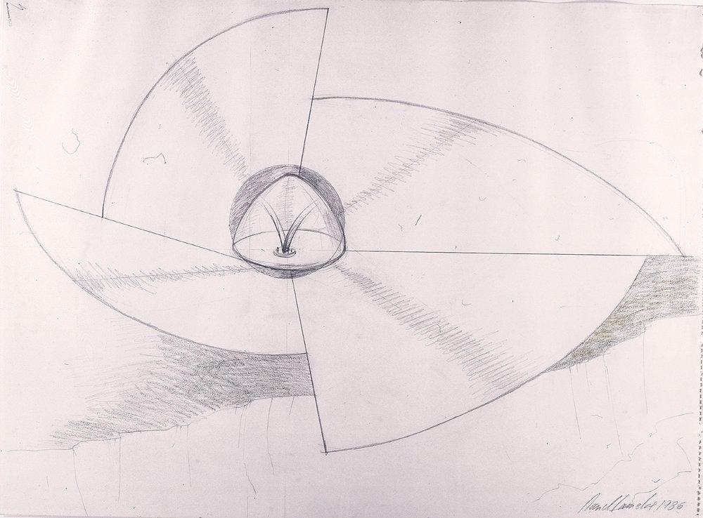 Reception Center for a Solar Energy Plant | 1986 | Zeichnung | 45 x 61 cm