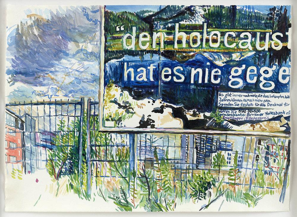 o.T. | 3./4.8.2001 (Alte Jakobstraße, Ecke Stallschreiberstraße/ Berlin) | Aquarell auf Papier | 50 x 65 cm (gerahmt 58,5 x 73,5 cm)