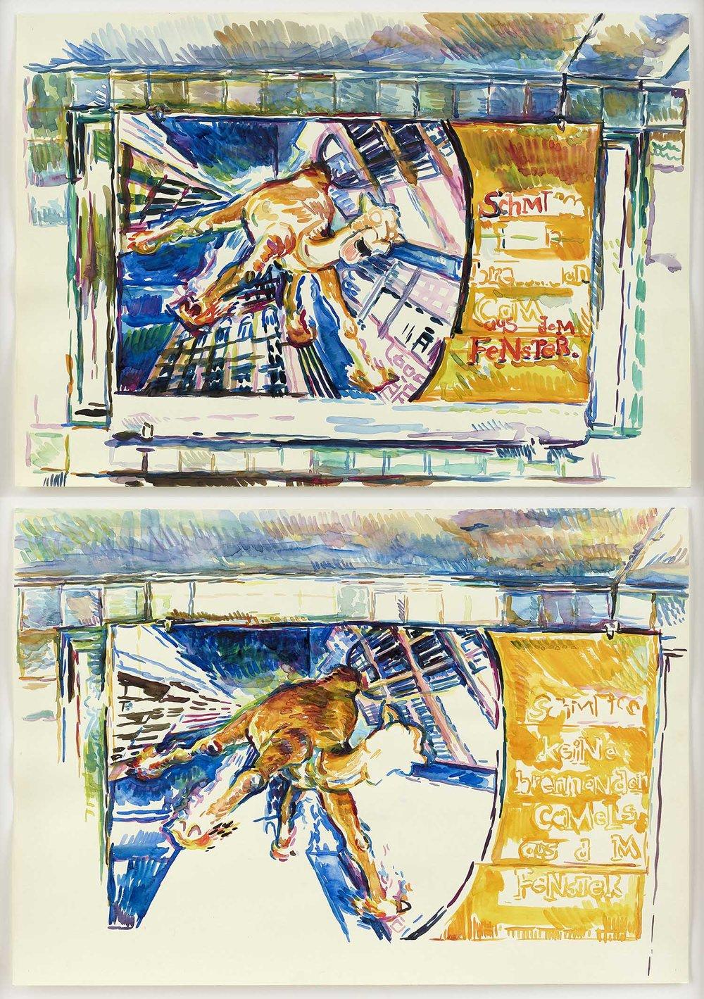 o.T. | 9./13.11.2000 und 11., 16. & 18.11.2000 (Moritzplatz/ Berlin) | zwei Aquarelle auf Papier | je 42 x 59 cm (gerahmt: 96 x 69 cm)