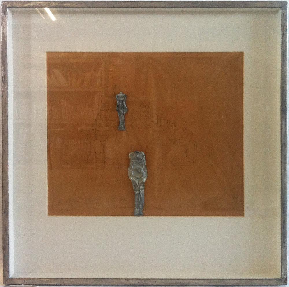 o.T.   1971   Bleistift und Blechrelief auf Papier, montiert auf braunem Karton   33,5 x 39,5 cm