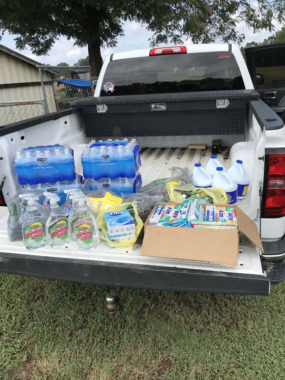 Hurricane Harvey Relief September 2017 - Supplies donated by C3 Farms to a local fundraiser to help Harvey victims in the Houston area.