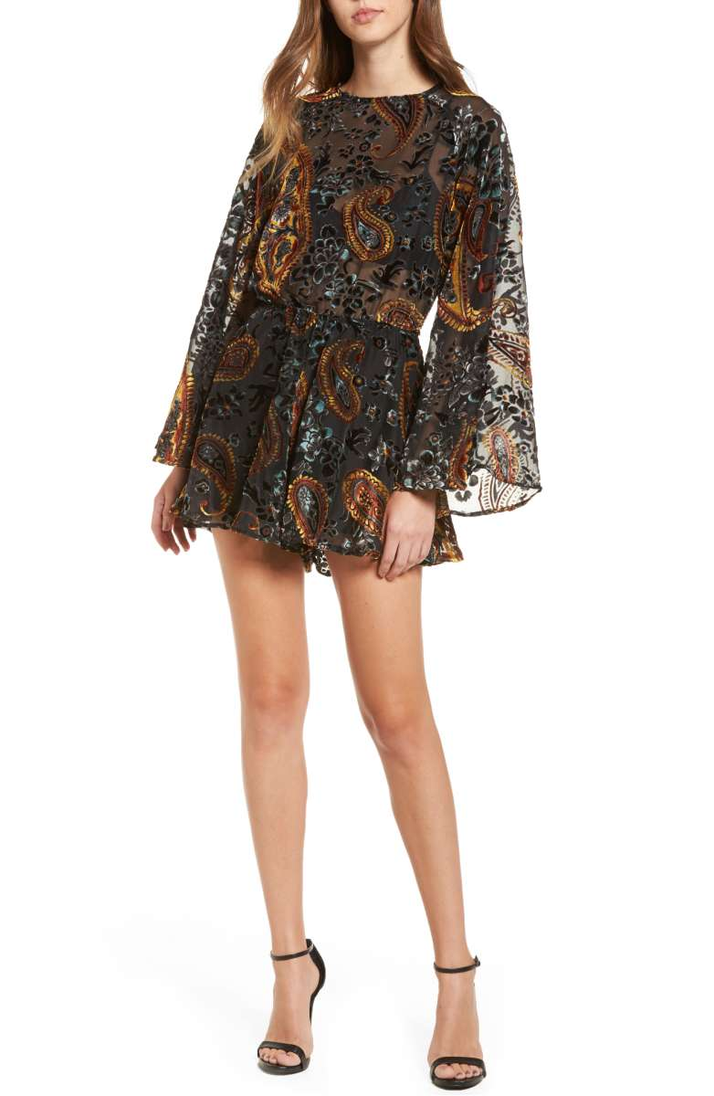 A most look a like to mine that you can buy today is available at Nordstrom, by Lioners Lovers & Gamblers this paisley print velvet romper is perfect to duplicate my look above!   Only $109 and has the open back too!