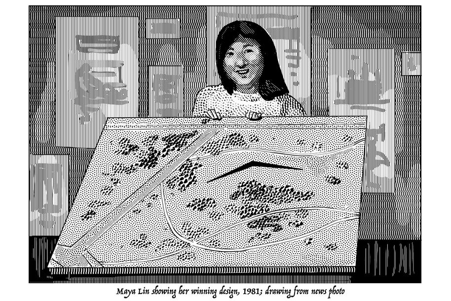 Maya Lin with Vietnam Veterans Memorial Design.jpg