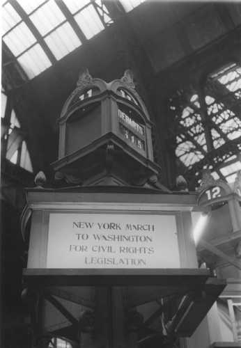 Bob Parent - March on Washington track sign at Penn Station.jpg