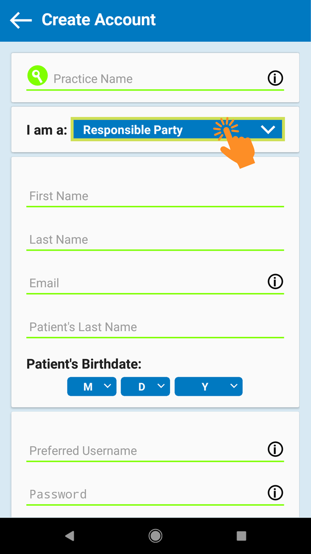 4. Select 'responsible party' & fill out the form -