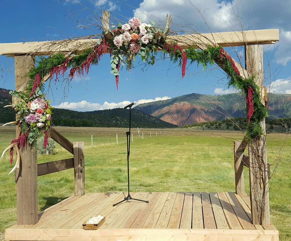 wedding arch flowers Rocky Mountains